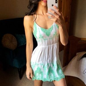 White Dress with teal embroidery